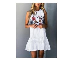 Floral Ruffles Hem Sleeveless Mini Dress
