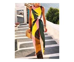Split Color Block Print Maxi Dress