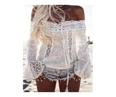 Stylish White Lace Patchwork Off Shoulder Casual Blouse