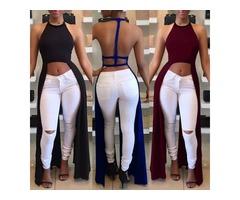 Sexy Women Backless Halter Fashion Crop Top