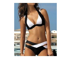 Colorblock Halter Bandage Design Bikini Sets