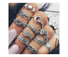 Vintage Women Alloy Carving Rings Set
