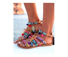 Ethnic Style Pom Pom Lace-up Flat Sandals
