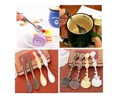 Vintage Palace Style Gold Silver Totem Sea Shells Aquatic Coffee Ice Cream Spoon