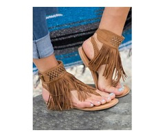 Ethnic Style Fringe Tassel Thong Flat Sandals