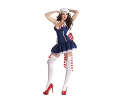 Sexy Women's Deluxe Sailor Pin Up Adult Costume Halloween Fancy  Carnival Party Dress Costumes