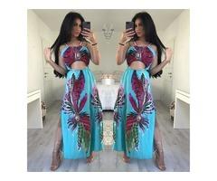 Bohemian Style High Slit Maxi Slip Dress