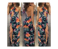 Sexy Halter Cut Out Open Back Split Maxi Dress