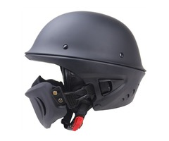 Zombies Racing DOT Rogue Half Helmet Motorcycle Retro Locomotive Detachable Mask Matte Black