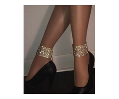 Glittering Metal Patchwork Ankle Chains