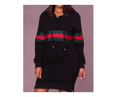 Contrast Wide Stripes Slit Hooded Sweatshirt Dress