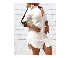 Stripes Tape Button Up Shirt Dress