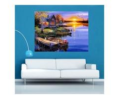 5D Diamond Painting DIY Lake&House Landscape Cross Stitch Home Decor