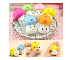 Squishy Mushroom Little Cute Toy Scented Key Chain Phone Bag Strap Pendant Decor Gift