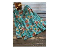 Vintage Women Floral Print O-neck Long Sleeve Blouse