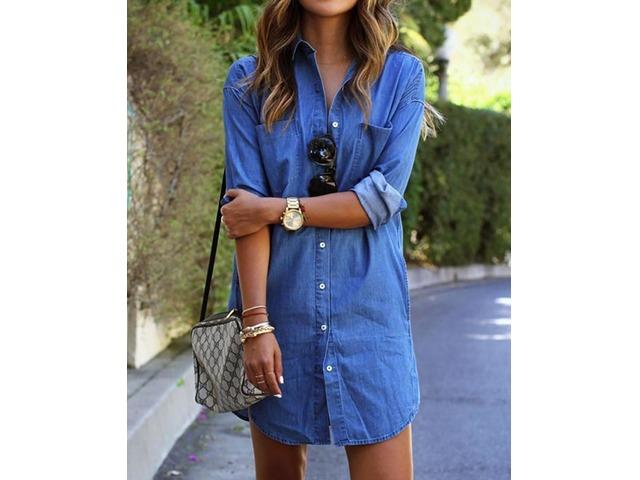 Trendy Buttoned Denim Shirt Dress | free-classifieds.co.uk