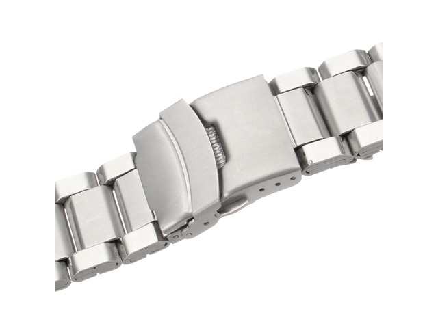 20mm 22mm 24mm Solid Link Silver Stainless Steel Watch Band | FreeAds.info