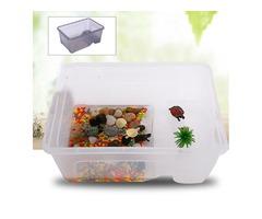 S/M/L Reptile Turtle Plastic Clear Breeding Feeding Box Aquarium Tank Platform Fish Feeder