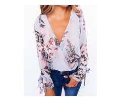 Floral Print Crisscross Front Flare Sleeve Blouse