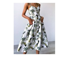 Tropical Button Front Party Wear Midi Dress