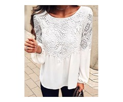 Solid Puff Sleeve Lace Patchwork Blouse
