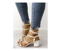 Fashion Studded Chunky Heeled Sandals