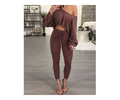 One Shoulder Ribbed Drawstring Waist Pantsuit