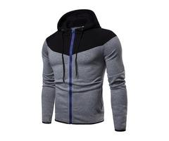 Men's Fashion Zipper Fly Color Block Hooded Sweatshirt