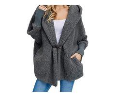 Women Trendy Fleece Pure Color Batwing Sleeve Hooded Coats