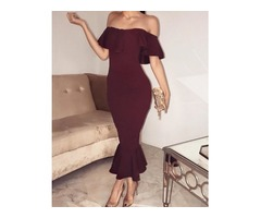 Sexy Flared Off Shoulder Cocktail Party Bodycon Dress