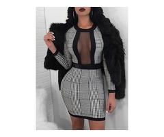 Women Mesh Splice Slim Waist Plaid Mini Dress