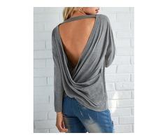 Fashion Open Back Crisscross Loose T-shirts