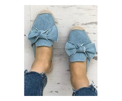 Denim Bowknot Espadrille Casual Slippers