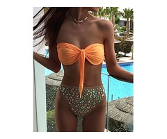 Shiny Decorated Knotted Front bandeau Bikini