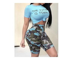 Letter Print Crop Tee  Camo Shorts Set