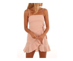 Ruffled Wrap Hem Self-belt Mini Slip Dress