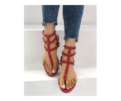 Rivet Multi Strap Toe Post Flat Sandals