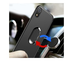 "Bakeey Protective Case for iPhone XR 6.1"" 360° Adjustable Metal Ring Grip Kickstand TPU Back Cover"
