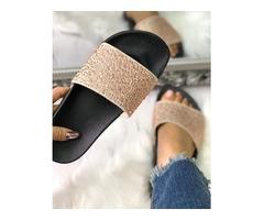Hot Drilling Single Strap Flat Sandals