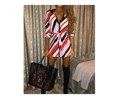 Stripe Print Self Belted Casual Shirt Dress