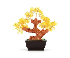 Money Wealth Tree Feng Shui Lucky Rich Tree Natural Pretty Crystal Gem Tree Room Decorations