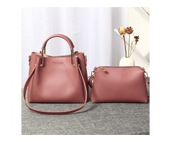 Women Faux Leather Two-piece Set Bucket Bag Handbag