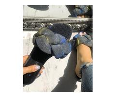 Glitter Braided Design Flat Sandals
