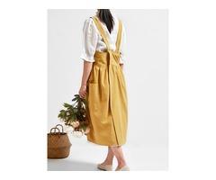Vintage Women Back Cross Pure Color Pockets Cotton Dress