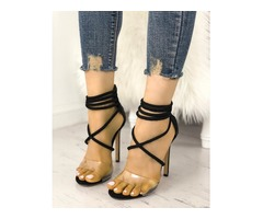 Transparent Crisscross Strappy Stilettoe Sandals