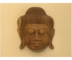 Beautiful Large Indonesian Wooden Carved Mask of Buddha Head