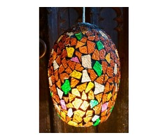 Ceiling lamp made with colourful glass pieces