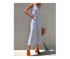 Striped Waist Belted Wide Leg Jumpsuit