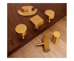 CONTEMPORARY BRASS CUPBOARD DOOR KNOBS AND PULLS – BRUSHED GOLD