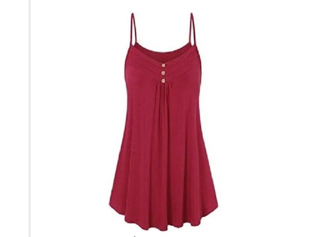 2019 Summer Women Loose Button V Neck Cami Tank Tops Vest Blouse Sleeveless T-Shirt | free-classifieds.co.uk